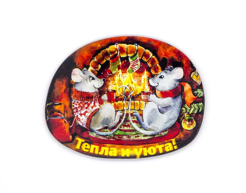 Магнит новогодний - мышки у камина